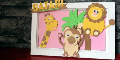 Safari-Bild mit Stanztieren – ein süßes Mitbringsel für Babys