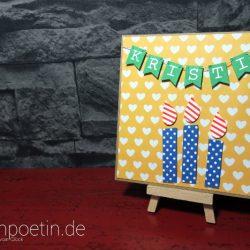 Geburtstagskarte in Kraft Braun und Gute Laune Farben