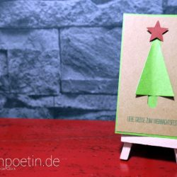 Weihnachtskarte mit Tannennbaum als Steckkarte